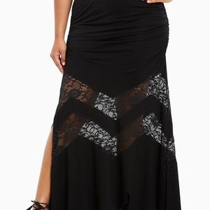 NWT Torrid Black Lace Inset Maxi Skirt 2X